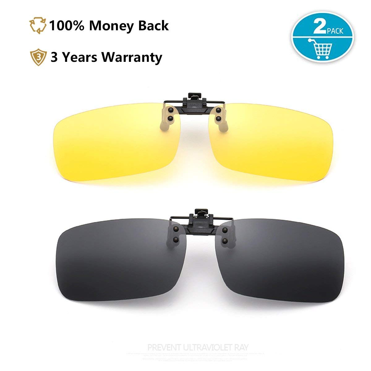 de2d556ca5e Get Quotations · Clip On Sunglasses Flip Up Polarized Sunglasses for Day    Night