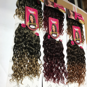 China Made heat resistant natural fiber peruvian synthetic hair bulk 100% wavy extension 4bundles