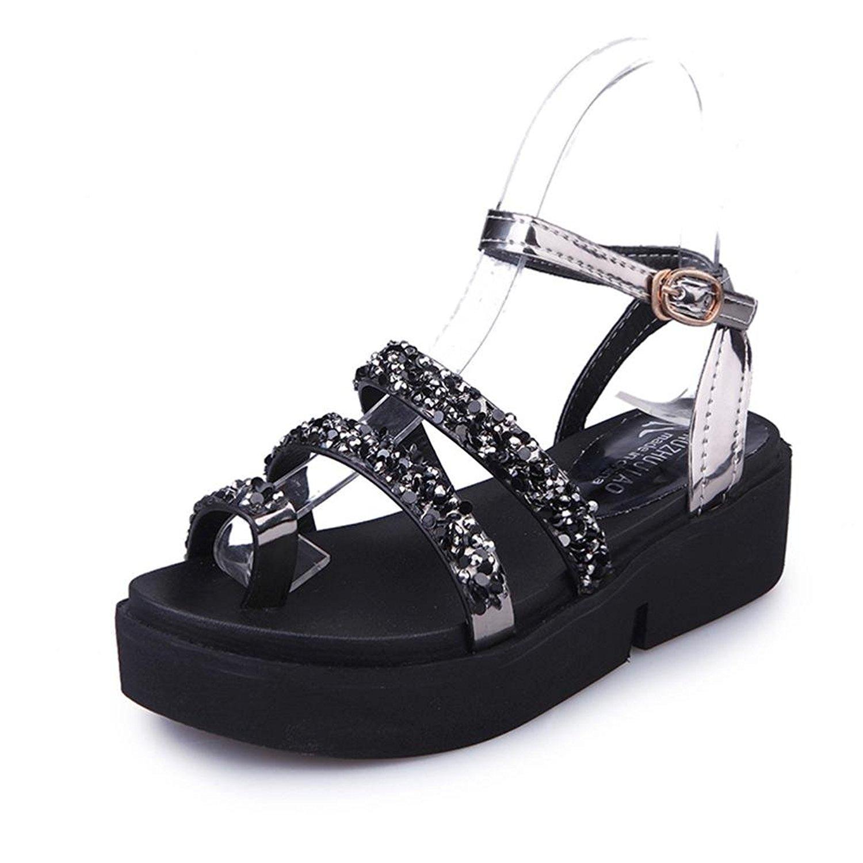 DEESEE(TM) Women Gladiator Flat Rhinestone Sandals Summer Shoes Fashion Sandals Shoes (US:6, Black)