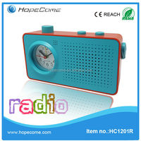 (HC1201R) rectangle quartz alarm clock radio speaker clock