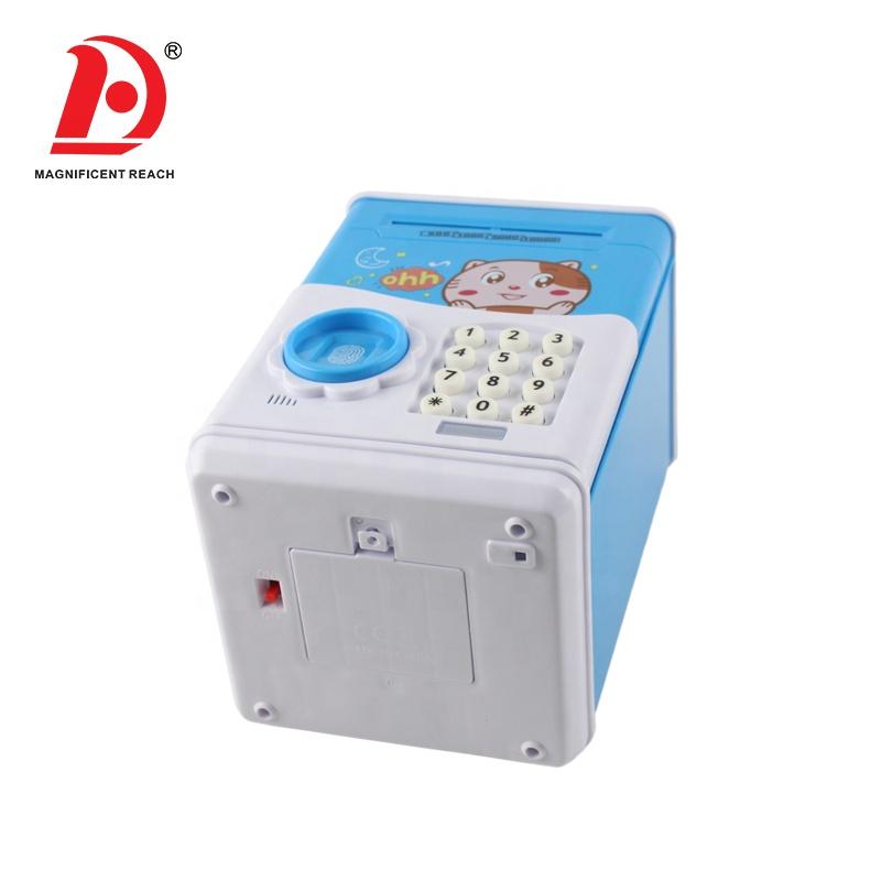 HUADA 2020 Kids Pretend Play Fingerprint Password Portable ATM Bank Cash Save Money Box Toy with Music