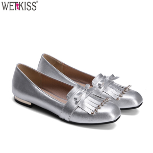 2d11d9ac011 Big Size China Factory Wholesale Cheap Ladies Loafers Flat Shoes Square Toe  Slip On Tassel Women