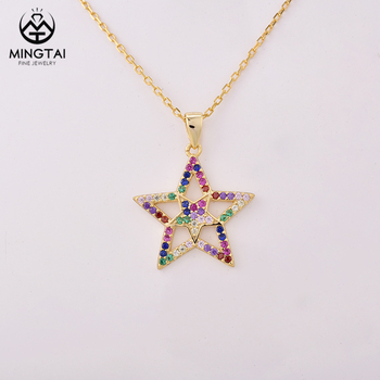 Fashionable gold plated 925 sterling silver star pendant