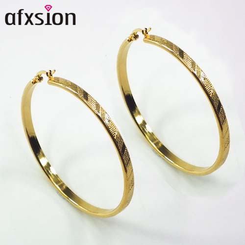 AFXSION 패션 (High) 저 (Quality 금 Plating 316L Stainless Steel Hoop Earrings 도매
