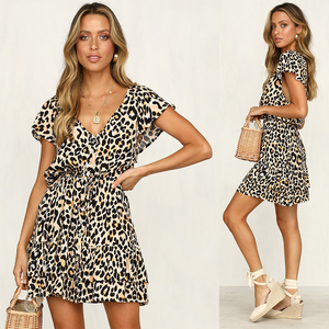 Women Clothing 2019 Leopard Print V Neck Rayon Boho Clothes Dresses