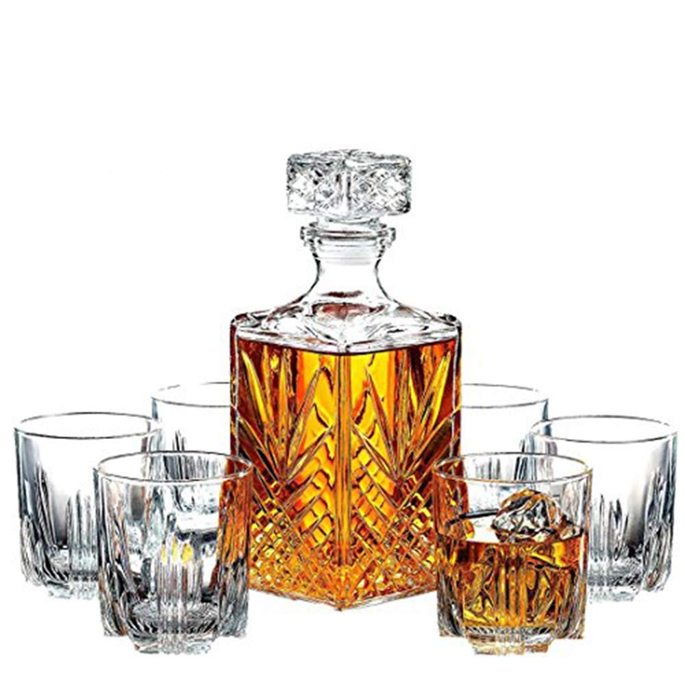 Paksh Novelty 7-Piece Italian Crafted Glass Decanter & Whisky Glasses Set, Elegant Whiskey Decanter with Ornate Stopper and 6 9.5oz Exquisite Cocktail Glasses