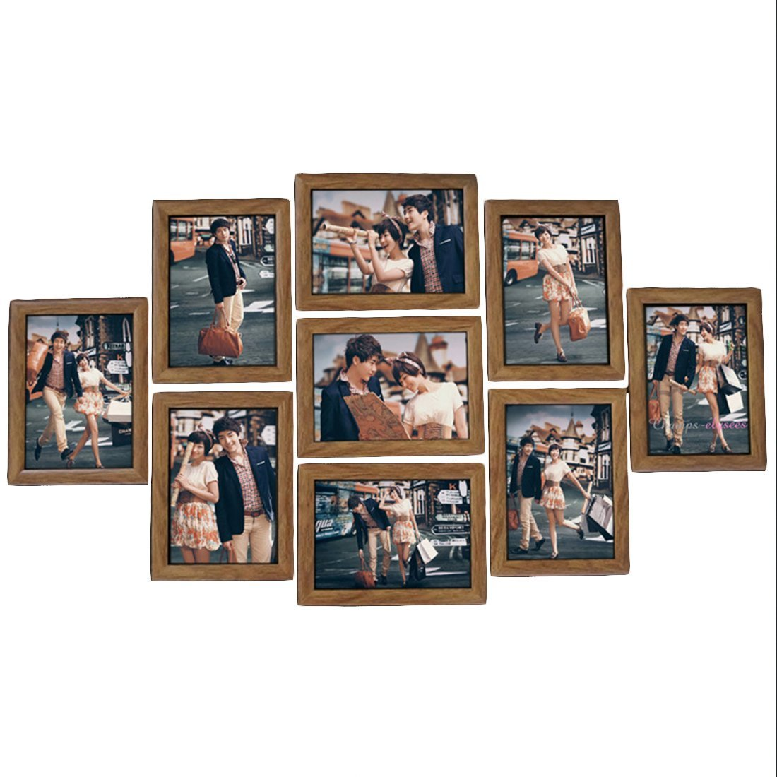iTECHOR 9Pcs 7In Wedding Photo Series Frame Family Picture Frame Wall Set