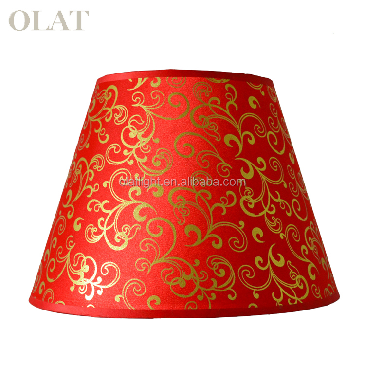 red handicraft pvc fabric lampshade for table lamp