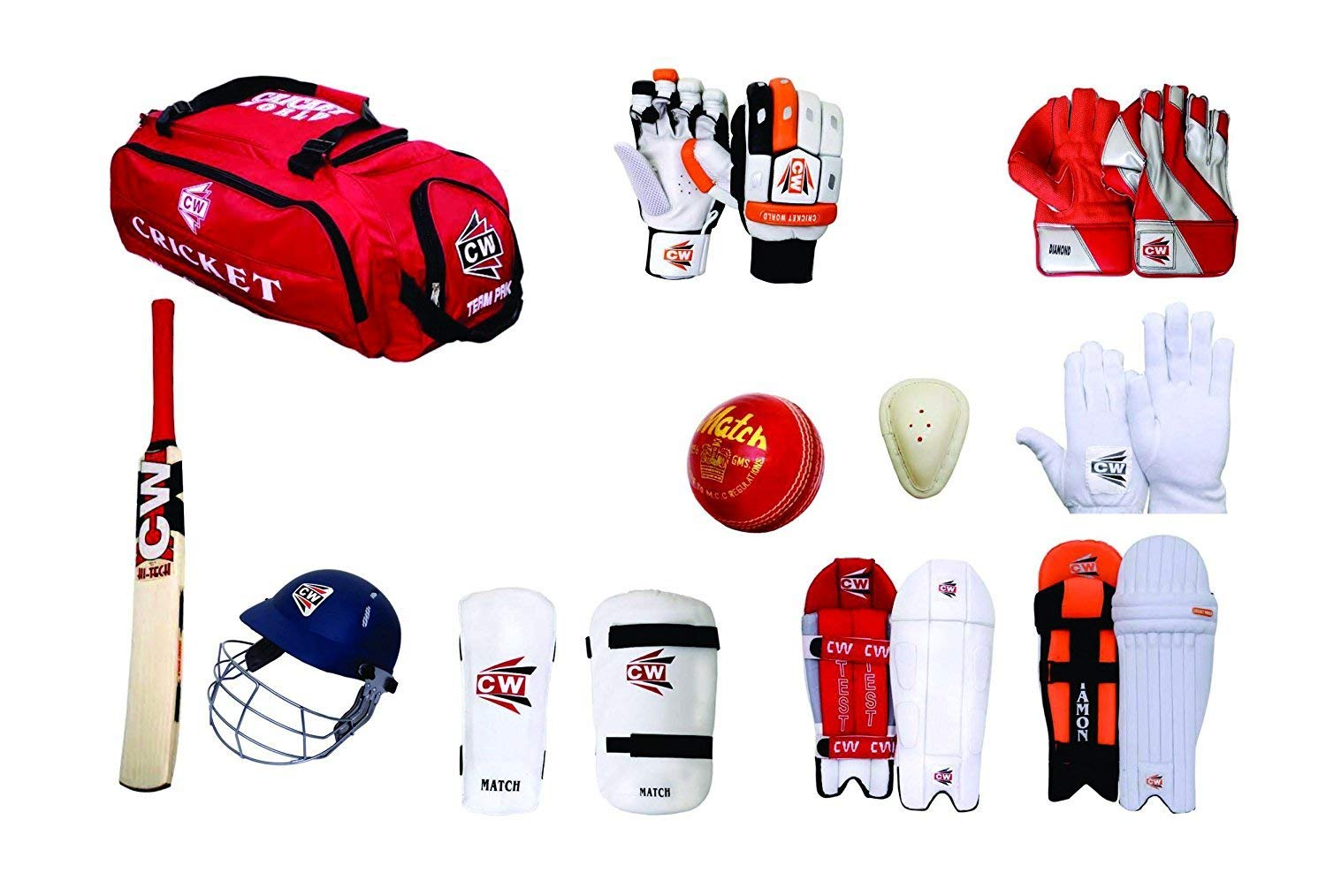 C&W Cricket World Hi Tech Match Team Kashmir Willow Red 12 Item Full Senior Size Complete All Cricket Tools Batting And Keeping Accessories Set For Senior/Adult Tournament/College/School/Club Matches