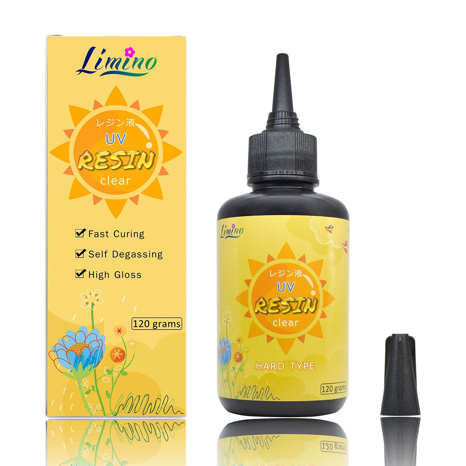 UV Resin - 120g Transparent Ultraviolet Curing Epoxy Resin for DIY Jewelry Making, Craft Decoration - Solar Cure Sunlight Activated Resin Hard Crystal Clear Glue for Casting & Coating, DIY Resin Mold