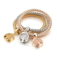 Dedicate design fashion jewellery accessories for women, chunky chain stretchable size bangle tree of life bracelet set