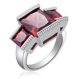 Custom Real White Gold Plated Diamond Rings Hot Selling Jewelry Wedding Engagement Rings Three Stone Ruby Engagement Rings