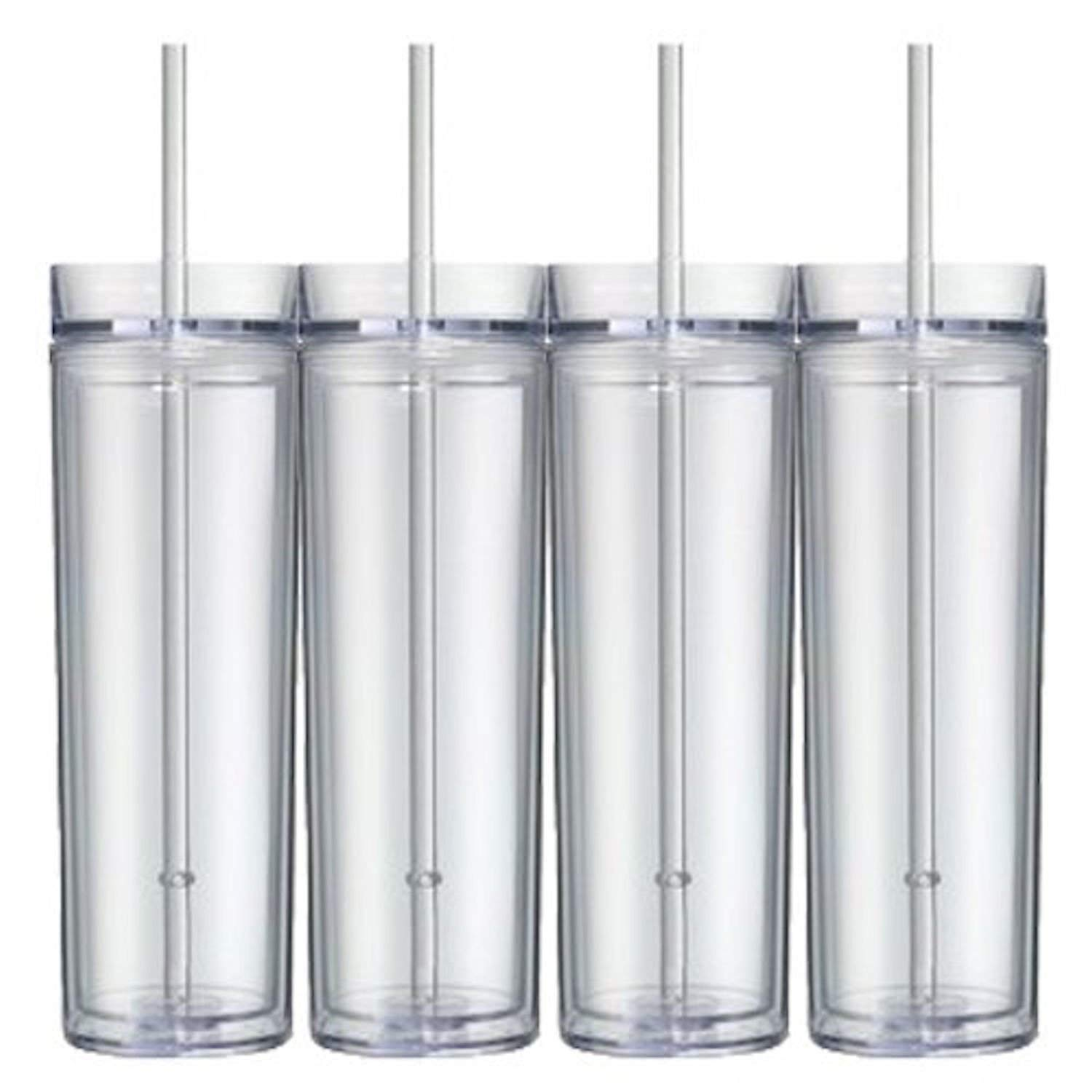 0a8d23000c1 Get Quotations · Set of 4 Clear Tall Skinny Tumblers, Acrylic 16 Ounce  Tumblers with Straw, Blank