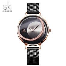 Роскошные женские часы из розового золота, модные, водонепроницаемые, стразы, элегантные, уникальные, SHENGKE, повседневные, из нержавеющей ста...(Китай)