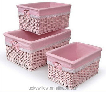 Lovely Pink Wicker Storage Baskets With Pink Liner