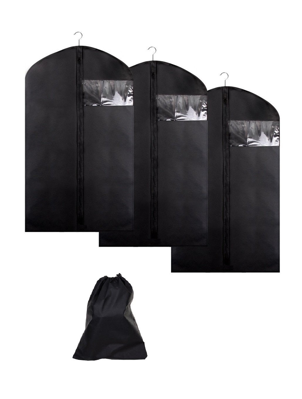 "Garment Bag Covers Breathable Garment Bags with Shoe Bag, 40""x24"" Suit Bag Covers with Clear Window Set of 3 (Black)"