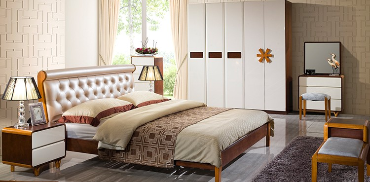 Bedroom Furniture Almirah fancy design solid wood bed room furniture bedroom set/wooden
