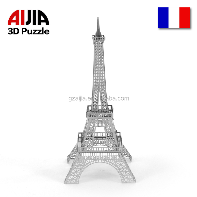 Eiffel tower famous building wholesale cool magic kids metal 3d jigsaw puzzle