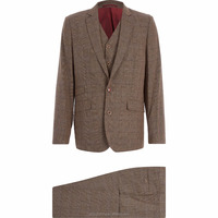 Latest Mens Brown Linen Checked Three-Piece Suits Wholesale