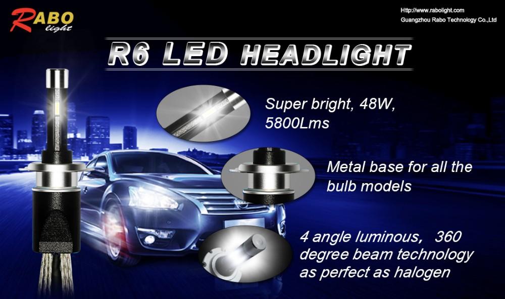 High/low Beam Led Headlight Bulb R6 Fanless High Lumen H4 Led ...