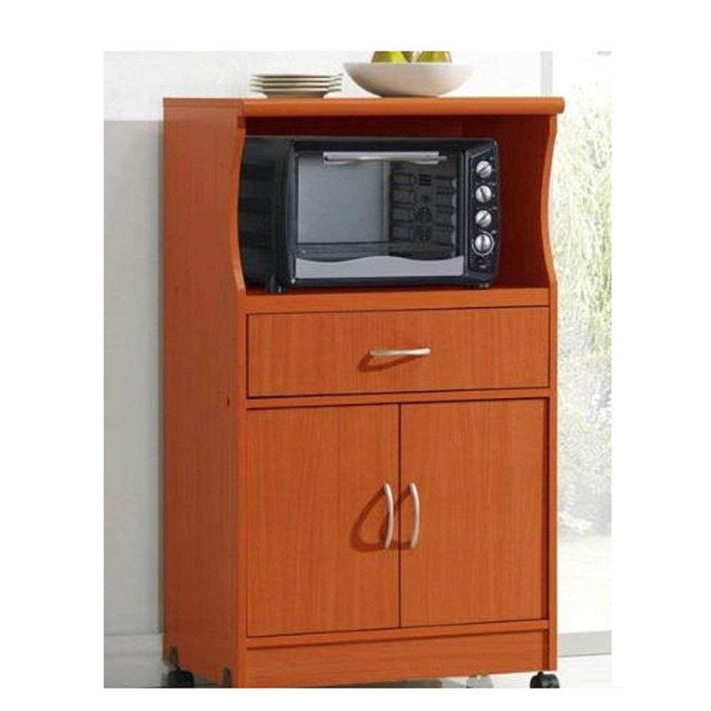 Get Quotations Svitlife Mahogany Wood Finish Kitchen Cabinet Microwave Cart Storage Island Rolling Trolley