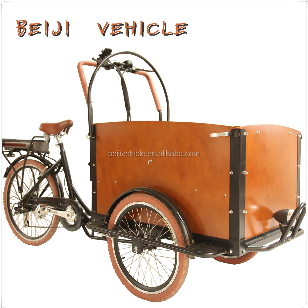 CE Holland bakfiets family 3 wheel cargo Chinese tricycle for sale bicycle with roof