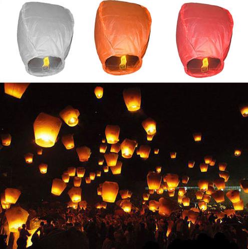 Chinois Resistant Papier Lanternes Ciel Mouche Bougie Lampe Pour Le