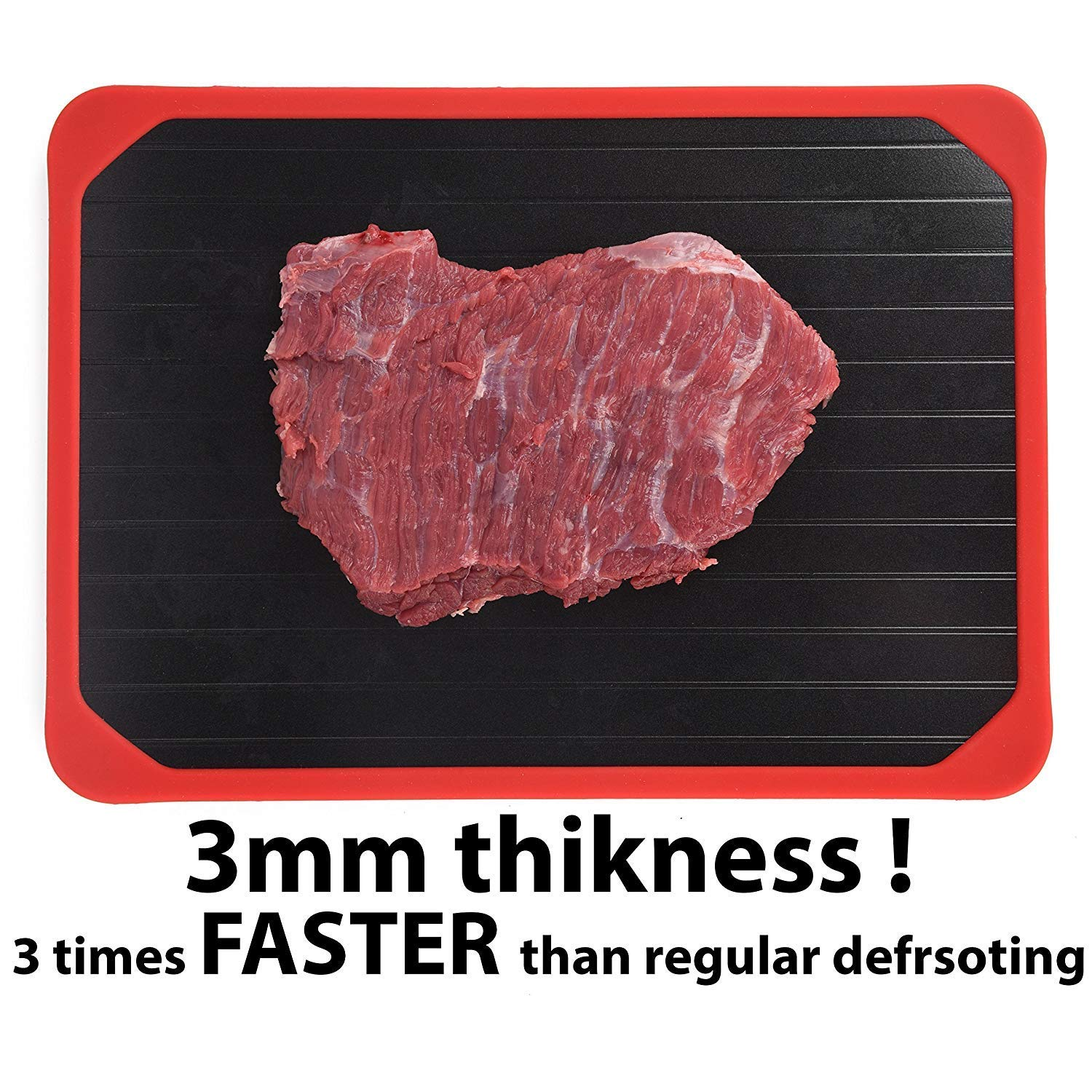 Defrosting Tray, Defrosting Tray with Red Silicone Border, Thawing Plate, The Safest Way to Defrost Meat or Frozen Food Beef Chicken Quickly No battery No Microwave, Fast rapid Thawing Plate