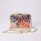 2017 Online hot sale product metal frame crystal colorful box clutch