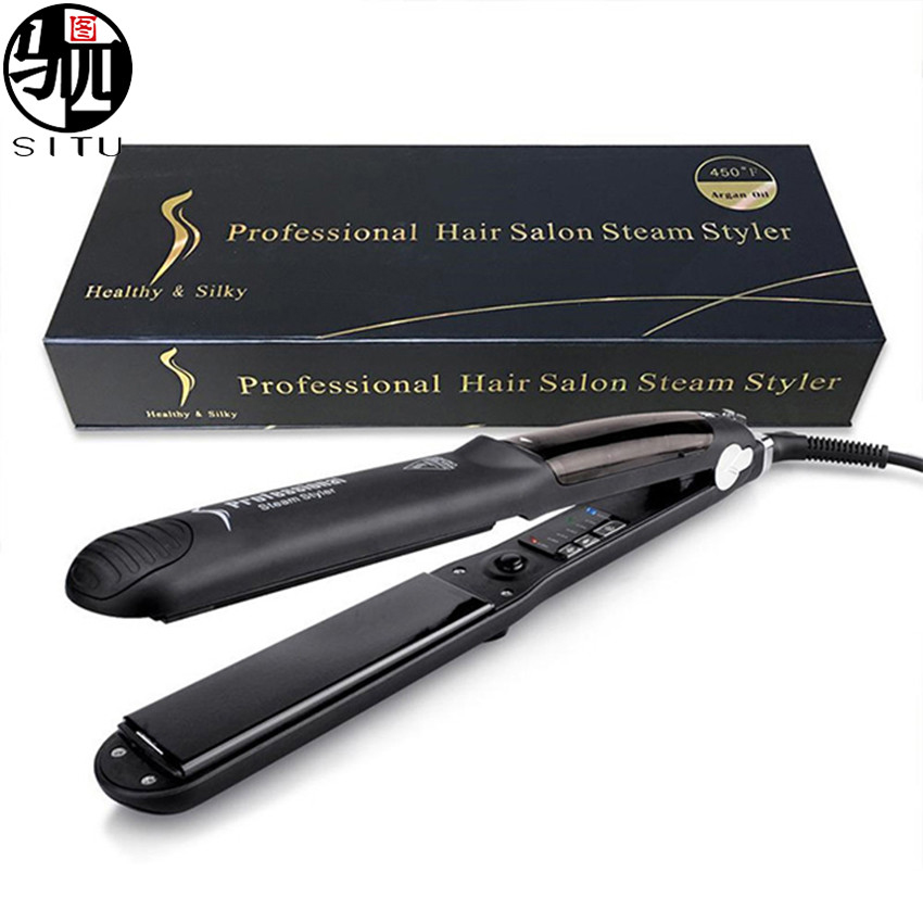 Steam Straighteners for Hair, Professional Steam Flat Iron with Adjustable Temperature for All Types of Hair, Ceramic Tourmaline