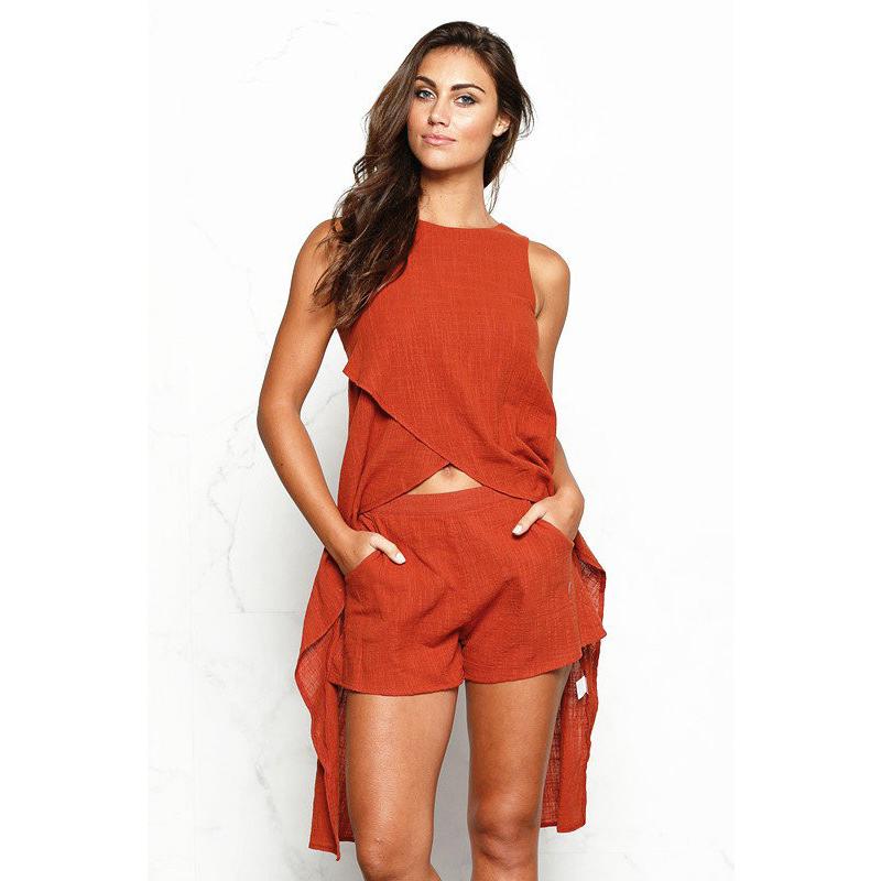Cotton Linen Fashionable High Low Crop Tops And Shorts Women Two Piece Sets Buy Crop Top Plain Crop Top And Shorts Two Piece Sets Product On Alibaba Com