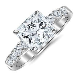 14K White Gold Classic Prong Set Princess Cut Diamond Ring with a 0.60 cwt Clean Clarity Center stone