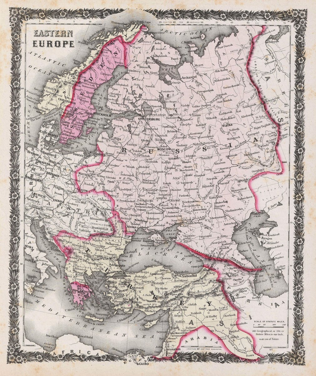 Historical 1858 Colton Antique Map of Russia and Eastern Europe   24in x 30in Fine Art Print