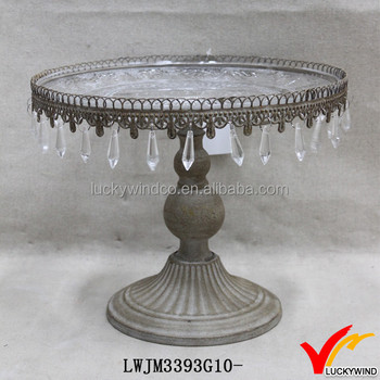 Shabby Chic Cake Stand With Crystals