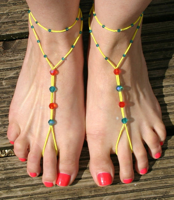 toe beads fashionable handmake crystal glass beads anklets with toe ring
