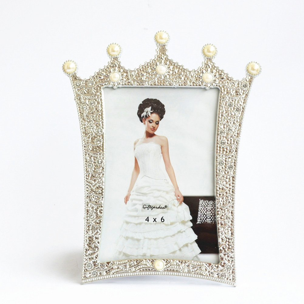 Giftgarden 4 by 6 -Inch Crown Picture Frame for Wedding Decor Photo Frames 4x6