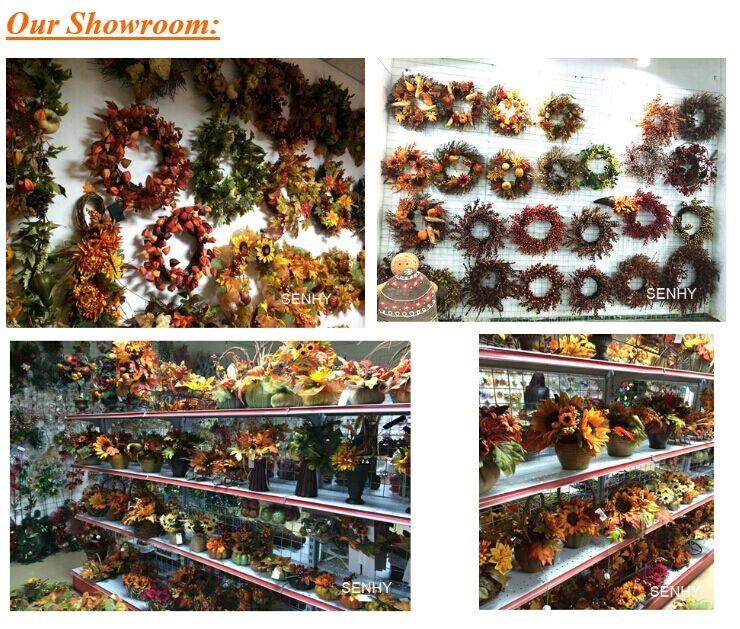 Artificial Evergreen Fruit Autumn Leaves Wreath