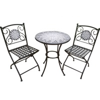 Outdoor Living Mosaic Decoration Tile Top Patio Wrought Iron 3-pc Balcony Set