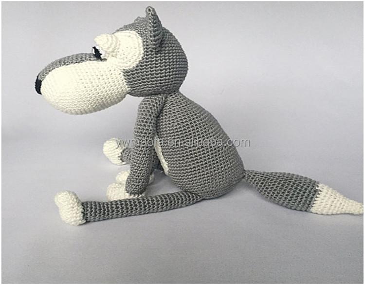 Kids Crochet Grey Wolf Pattern Gift Toys Handmade Knit Animal