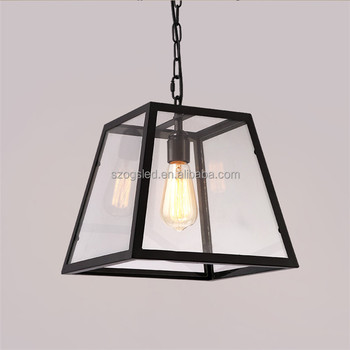 Vintage Iron Caged Trapezoid Shape Pendant Lamp Italian Style Light