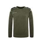 Xinxing Police Military O-Neck Green Acrylic Wool Sweater with Epaulets Patches and zipper YM11