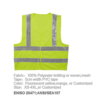 Customized Logo Polyester Fabric Airport Traffic High Visibility Reflective Safety Warning Vest