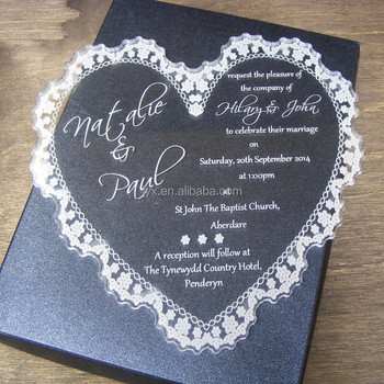 Elegance Acrylic Heart-shaped Design Wedding Invitation Card - Buy ...