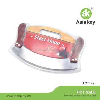 Pizza Cutter Rocker Knife With Stainless Steel Mezzaluna Blade Wooden Handlesulu Knife Buy Stainless Steel Mezzalunavegetable Chopperpizza