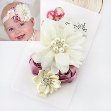 Children Girls Hair Accessories Baby Elastic Lace Flowers Headbands Newborn Infant Hair Bands Kids Headwear
