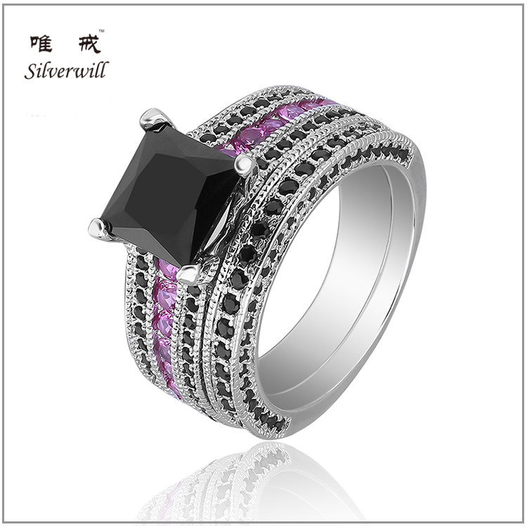 2017 latest <strong>black</strong> and pink cubic zirconia pave engagement ring in sterling silver