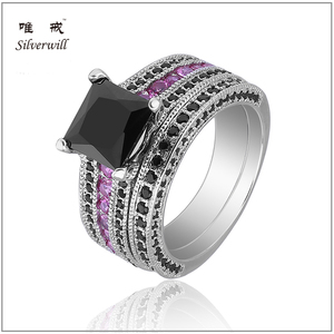 2017 latest black and pink cubic zirconia pave engagement ring in sterling silver
