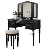 French style royal soild wood bedroom furniture black antique vanity dresser table with mirror makeup table