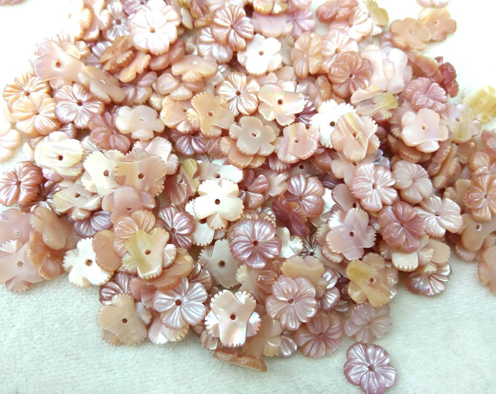 handmade shell beads flower 24pcs 10mm Conch shell Pink MOP Shell Fluorial 5-Petal Caps Rose Flower Carved Purple Pink Red shell Beads