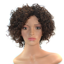 Natural Short Curl Synthetic Fiber Lace Front Wig For Black Women